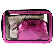 secret hot pink and gold cosmetic bag