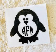 Penguin Decal Monogram Decal Personalized Penguin Decal Etsy Monogram Decal Custom Decals Vinyl Decals