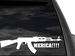 Amazon Com Fgd Funny Pro Gun Window Sticker Ak47 Merica In White 12 X3 Mer1 Second Amendment Decal Car Truck Suv Everything Else