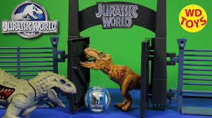 New Jurassic World Lockdown Playset Indominus Rex Hybrid Vs Trex Tyrannasaurus Kids Toys Unboxing Youtube