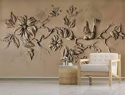 3d Embossed Floral Wallpaper Cement Blossom Sculpture Bird Wall Art Mi Ek Chic Home