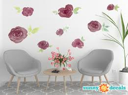 Watercolor Flowers Fabric Wall Decal Set Of 8 Flowers And Leaves 6 Color Options And 2 Size Options Sunny Decals