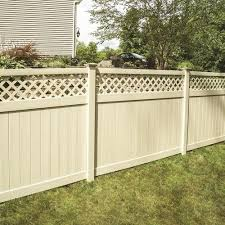 Freedom Actual 5 83 Ft X 7 84 Ft Ready To Assemble Conway Sand Vinyl Lattice Top Vinyl Fence Panel At In 2020 Fence With Lattice Top Vinyl Fence Panels Fence Panels