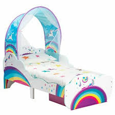 kids rainbow unicorn toddler bed with