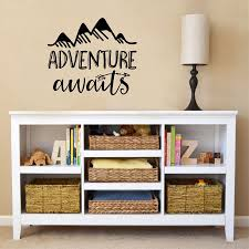 Adventure Awaits Quotes Vinyl Wall Decals Nature Mountains Explorer Wall Sticker For Kids Room Decoration Sticker For Kids Room Wall Stickers For Kidswall Sticker Aliexpress