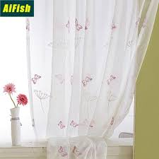 2020 Embroidered Butterfly Dandelion Floral Tulle Curtains For Kitchen Bedroom Sheer Linen Drape Panels For Kids Girls Room From Qygw Home 23 1 Dhgate Com