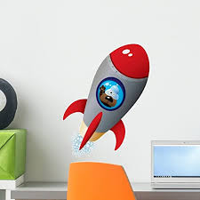 Amazon Com Wallmonkeys Cartoon Dog Astronaut Spaceship Wall Decal Peel And Stick Decals For Boys 18 In H X 15 In W Wm199123 Home Kitchen
