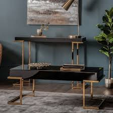 canela mirrored coffee table in black