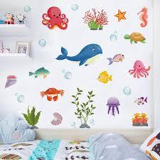 Ocean Sea Fish Wall Sticker Vinyl Removable Mural Kids Room Bathroom Art Decor 759981630668 Ebay