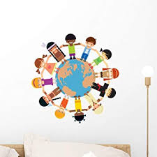 Amazon Com Wallmonkeys Many Children Holding Their Hands Around Earth Wall Decal Peel And Stick Graphic Wm54329 18 In H X 18 In W Home Kitchen