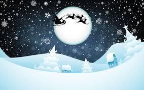 تحميل خلفيات صورة ظلية من سانتا كلوز القمر سنة جديدة الليل سنة