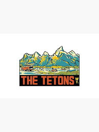 The Tetons Grand Teton National Park Vintage Travel Decal Laptop Sleeve By Melikeytees Redbubble