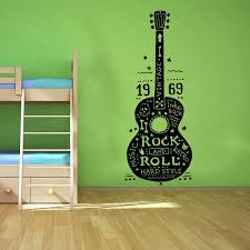 Yoyoyu Decal High Quality Wall Decals Guitar Rock And Roll Music Hard Retro Hippies Wall Stickers Vinyl Decor Bedroom Art Kw 178 Decoration Bedroom Wall Stickerrock And Roll Aliexpress