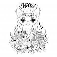 Kleurplaat Met Sphynx Kat Met Rozen Bloemen Zeggen Hallo