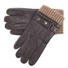 leather gloves with elasticated wool cuff