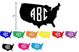 United States Map Custom Vinyl Decal Monogram Sticker 3 Initials For Use On Computer Laptop Metal Cup Phone Cases Car Water Bottle Yeti Cup 10 Colors 9 Sizes 2 3 4 5 6 7 Inch In 2