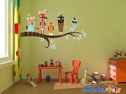 Crazy Birds Kids Room Vinyl Wall Decal