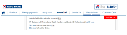hdfc credit card net banking