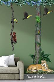 Design A Perfect Jungle Theme Room With These Wall Decals From Original Artwork By Fine Artist Dede L Jungle Wall Decals Jungle Theme Rooms Jungle Bedroom Kids
