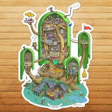 Adventure Time Finn Jake Giant Tree House Die Cut Wall Car Window Decal Sticker