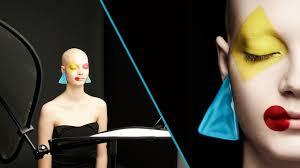 light beauty setup with graphic makeup