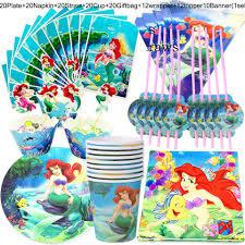 134 Uds Juego De Vajilla De Caricatura De Princesa Disney Sirena