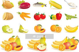 Food Icons Set Fruit Vegetables Meat Corn Vector Wall Decal Pixers We Live To Change
