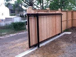 A Sliding Gate Instead Of Swing Gate Yes Sliding Wooden Gates Fence Design Wooden Gates