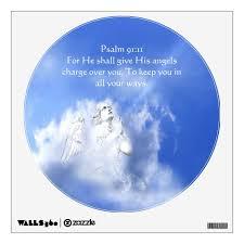 Psalm 91 11 Scripture Angel Watch Over You Wall Sticker Zazzle Com