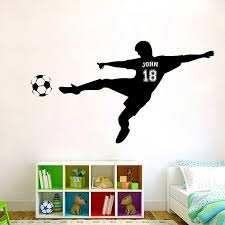 Personalized Name Football Soccer Shooting Wall Decal