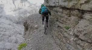 via ferrata on a mountain bike video