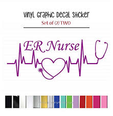 Shopvinyldesignset Of 2 Two Heartbeat Er Nurse Vinyl Graphic Decal Stickers For Vehicle Car Truck Window Laptop Tablet Cooler Locker Planner High Quality Outdoor Rated Vinyl Dailymail