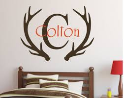 Personalized Antlers Decal Boys Hunting Decal Wall Decal Vinyl Decal Boys Nursery Boys Bedroom Vinyl Wall Decor Antlers Initial Name Decal