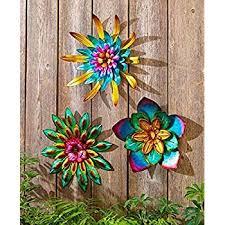 Amazon Com 3pcs Indoor Outdoor Metal Garden Wall Flower Sculpture Colorful Garden Yard Fence Art Kitchen Dining
