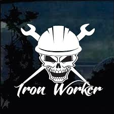 Iron Worker Skull Decal Sticker Custom Sticker Shop