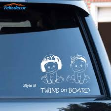 19 15 Lovely Twins On Board Decal Car Stickers Cute Safety Sign Baby On Board For Car Window Vinyl Cars Decal Hot Selling L1027 Car Stickers Aliexpress