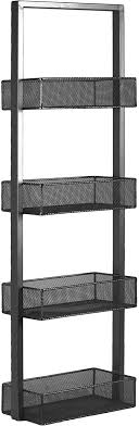 Amazon Com Urban Trends Iron Shelf With 4 Wire Mesh Sides Bins Coated Gray Home Kitchen