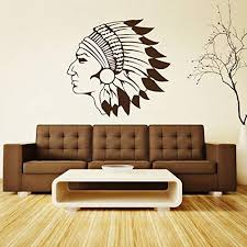 Amazon Com Indian Head Vinyl Wall Decal Traditional Apache Native American Chief Home Decor Sticker Black Brown White Gold Silver Gray Other Colors Small Large Sizes Handmade