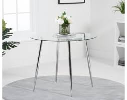 dining table round in clear glass