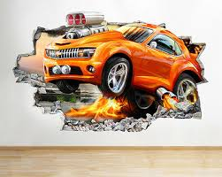 Q370w Race Car Cool Kids Bedroom Smashed Wall Decal 3d Art Stickers Vinyl Room