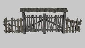 3d Asset Old Wooden Gate Cgtrader