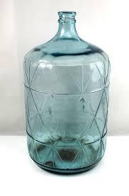 5 gallon embossed blue glass bottle jug