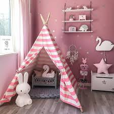 6 Indian Play Tent Teepee Kids Playhouse Sleeping Dome Portable Carry Bag Pink Ebay