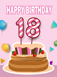 Happy 18th Birthday Cake Card | Birthday & Greeting Cards by Davia