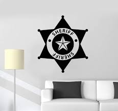 Vinyl Wall Decal Sheriff Badge Police Kids Room Art Stickers Mural Uni Wallstickers4you
