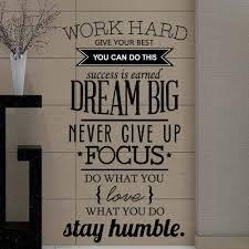 Amazon Com A Count Wall Decal Quote Work Hard Dream Big Never Give Up Stay Humble Decal Teamwork Vinyl Stickers Home Bedroom Motivation Quote Wall Sticker Home Kitchen