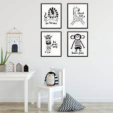 Sincerely Not Minimalist Kids Bedroom Baby Zoo Animal Art Print Set Sincerely Not