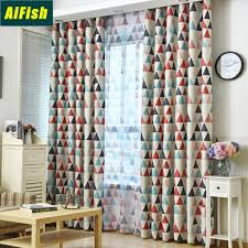 Thermal Insulated Room Darkening Blackout Curtains For Kids Bedroom Green Red Geometric Sheer Curtain Tulle Living Room Wp2112 Buy At The Price Of 4 98 In Aliexpress Com Imall Com