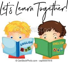 Boys reading book with phrase let's learn together illustration.
