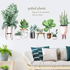 Amazon Com Finduat Green Potted Plant Wall Decal Nature Tropical Leaf Wall Sticker Art Murals For Home Living Room Offices Wall Corner Playroom Arts Crafts Sewing